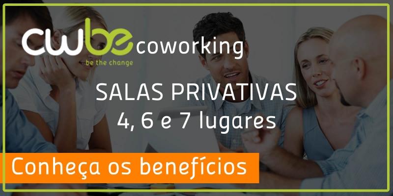 Salas privativas em um coworking